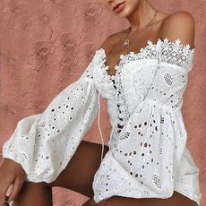 blouse, Shoulder, cardigan, Lace