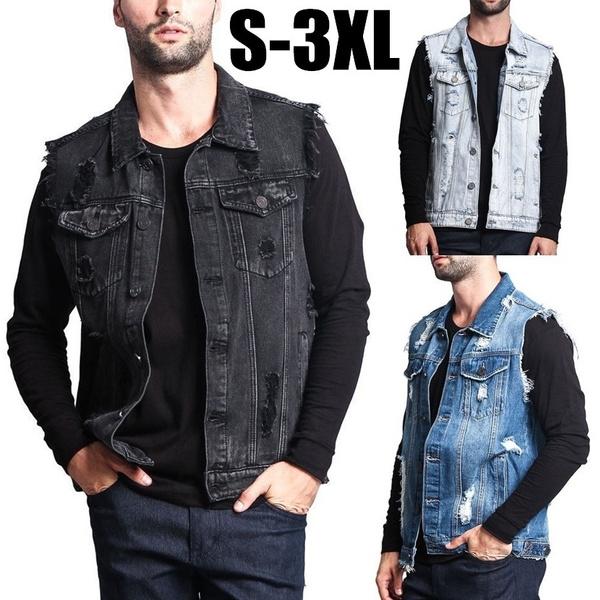 Blues, motorcyclejacket, Vest, Plus Size