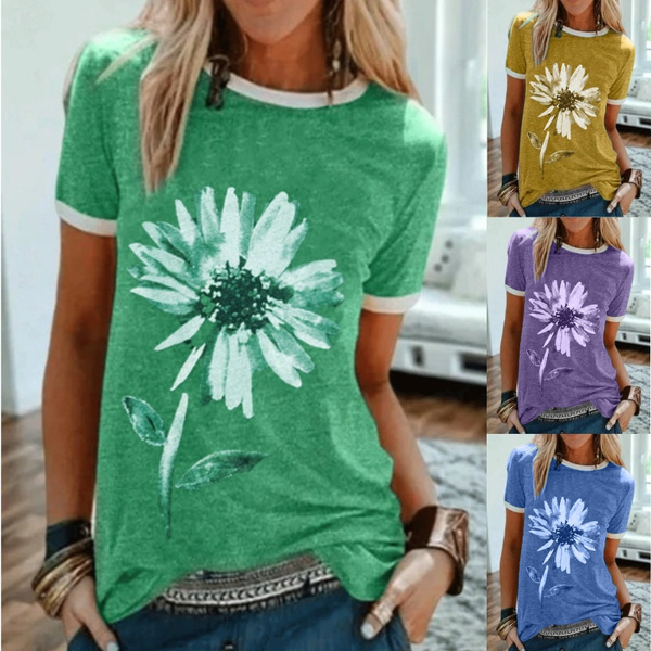 daisyprint, Plus Size, Summer, short sleeves