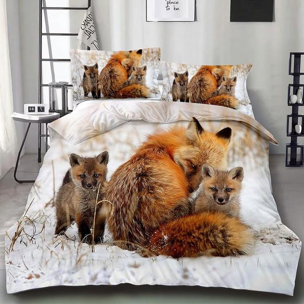 Animal 3d Polyester Fox Family Design, Fox Bedding Set