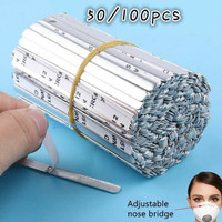 Aluminum Strips Nose Wire Direct Adhesive Aluminum Sheet Nose Bridge for Mask Metal Nose Clips Nose Bridge Flat Clinging Metal Bracket DIY Wire for Sewing Crafts 200pcs