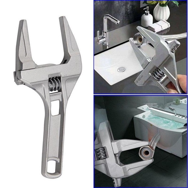 Wide Adjustable Large Spanner Wrench Hand Nut Opening Pipe Tool Jaw Tools