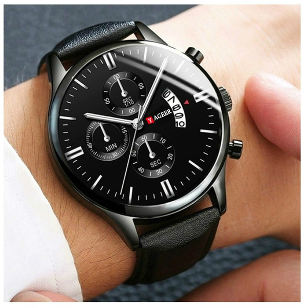 menclock, Men Business Watch, leather strap, leather