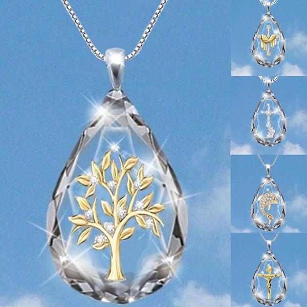 DIAMOND, Cross necklace, gold, religiousnecklace