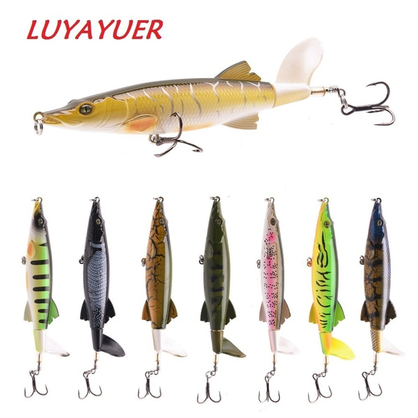 NEW 8PCS FLOATING ROTATING TAIL FISHING LURES ARTIFICIAL HARD BAIT 3D EYES LURE
