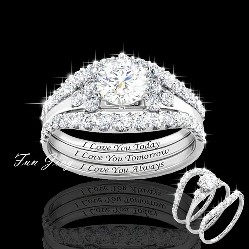 Sterling, Engagement Wedding Ring Set, wedding ring, 925 silver rings