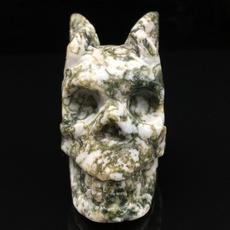 skullcollection, mossagateskull, skull, handcarved