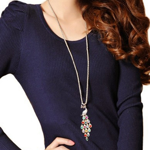 goldplated, peacock, Chain Necklace, Fashion