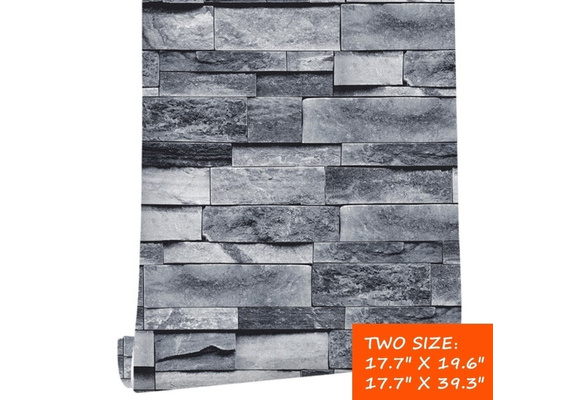 17 7 X19 6 17 7 X39 3 Vintage Gray Brick Wallpaper Self Adhesive Stone Peel And Stick Wallpaper Brick Faux Textured Wallpaper Stone Look Wall Contact Paper For Drawing Room Background Wall Home Decor Wish