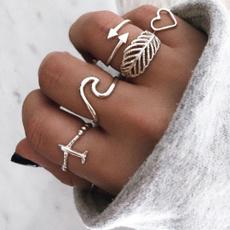 leaf, Jewelry, ringset, boho