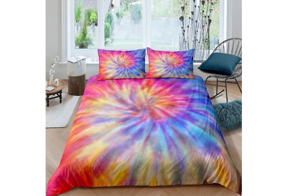 Sleepwish Modern Pastel Tie Dye Bedding Colorful Marble Duvet Cover Twin Blue Purple Modern Bedspreads Kids Teens Girls 3 Piece Trendy Bed Set