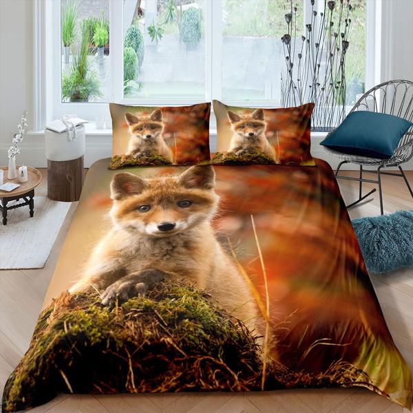 Fox Bedding Set Cute Duvet Cover, Fox Bedding Set