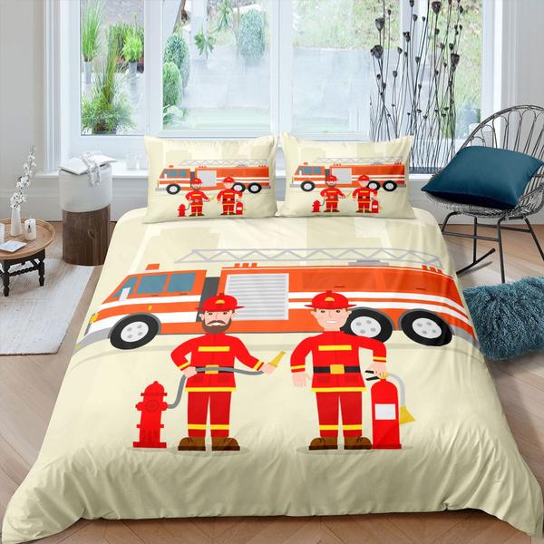 Kids Firemen Duvet Cover Fire Truck, Twin Fire Truck Bedding
