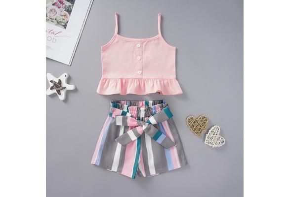 3T // 100, Dark Blue Short Pants Outfits Set Clothing LandFox Kids Baby Girls Short Sleeve T-Shirt
