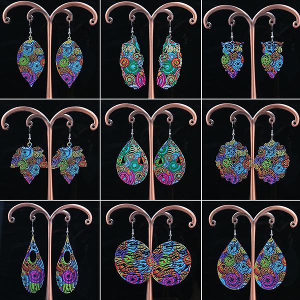 Owl, vintage earrings, waterdropearring, water