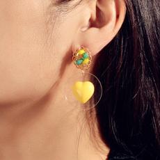 Heart, Jewelry, rounddropearring, Creative earrings