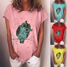 Owl, Plus Size, Shirt, Women Fashion