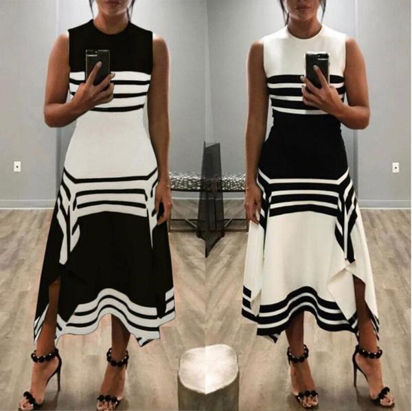 Sleeveless dress, Plus Size, Stripes, Necks
