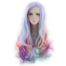 Synthetic, wigs24long, rainbow, Cosplay