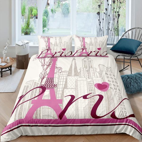 Eiffel Tower Duvet Cover Set For Kids, Travel Themed Twin Bedding
