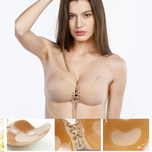 Women Silicone Bra Invisible Push Up Stick On Self Adhesive Front Lacing Bras St
