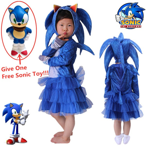 Give One Free Toys Sonic The Hedgehog Children S Cosplay Costumes Girls Dress Headdress Stage Performance Suits Wish