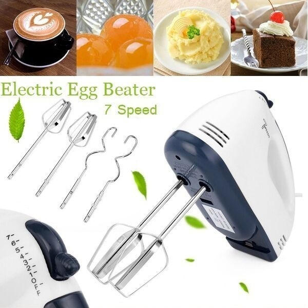 Electric Hand Mixer Handheld 7-Speed Whisk BLENDER Egg Beater for Baking Cake