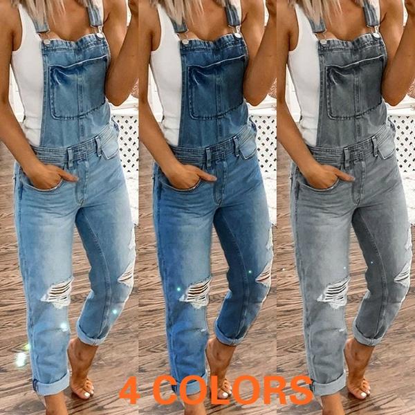 Plus Size, denim overalls women, Denim, slim