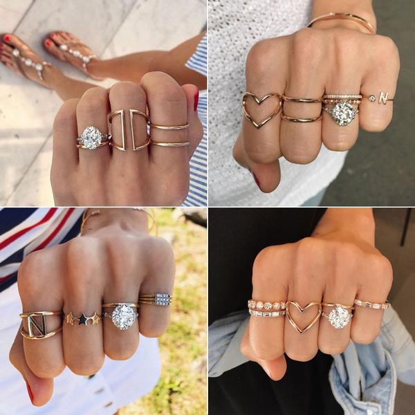 bohoring, Vintage, crystal ring, Love