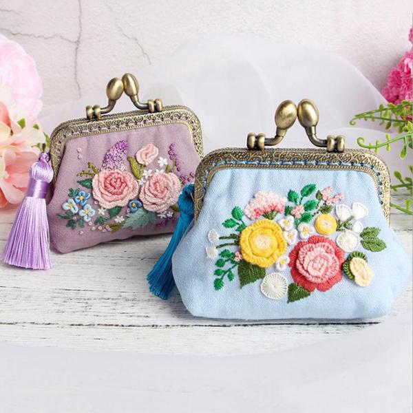 Kit, Flowers, Embroidery, purses