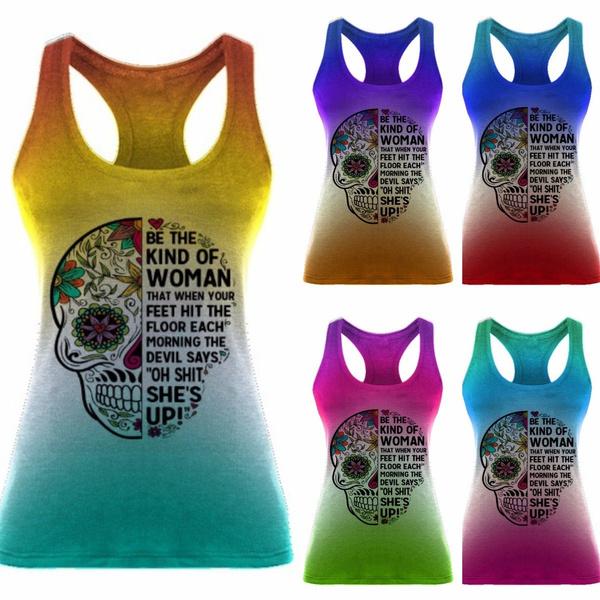 Women Vest, Plus Size, Skeleton, Summer