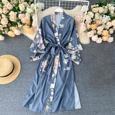 yukata, womenbathrobe, satinbathrobe, Coat
