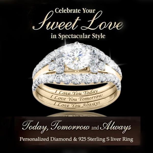 Engagement Wedding Ring Set, gold, Yellow, Jewelry