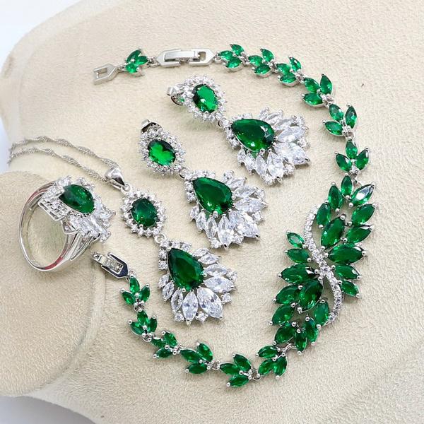 bridaljewelrysetsforwomensilver, greenemeraldset, Earring, Women's Fashion