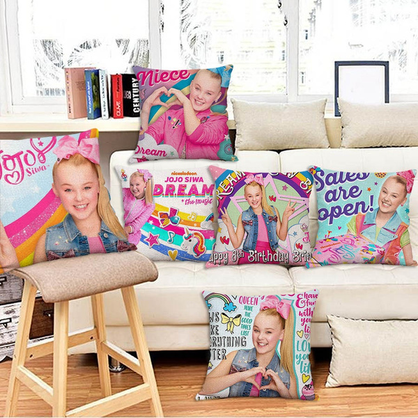 Jojo Siwa Pillowcase Home Decor Sofa Car Waist Cushions Cover Bedroom Throw Polyester Pillow Case Bedroom Decoration Pillowcase 1pc Without Inner 45cm 45cm Wish