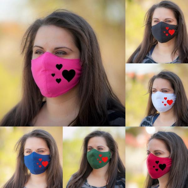 reusemask, Outdoor, redheartprinted, maskpocket