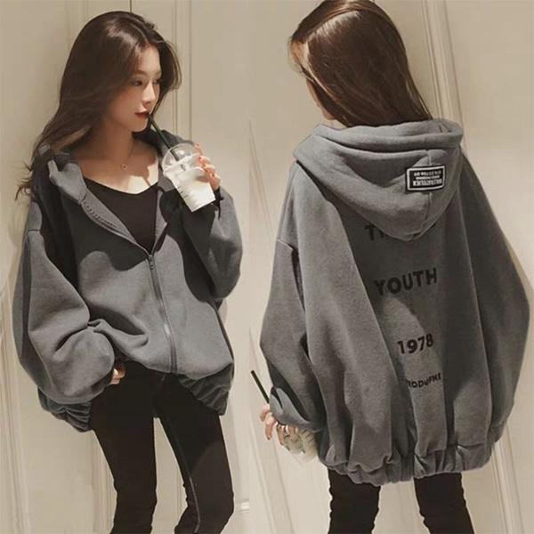 Womens Hooded Oversize Zip Jacket Ladies Winter Coats Cardigans Outwear Pullover