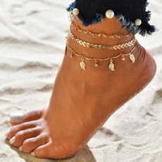 Women, Bead, Anklets, gold