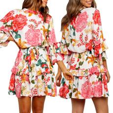 Summer, elegantflowerprintalinedres, Fashion, ruffle