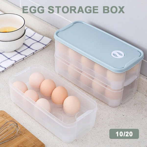 10//20 Egg Holder Plastic Storage Box Container Organizer Refrigerator Egg Box UK