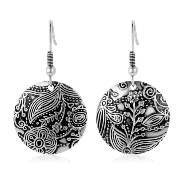 bohogift, antiquesilverearring, bohojewelry, Dangle Earring