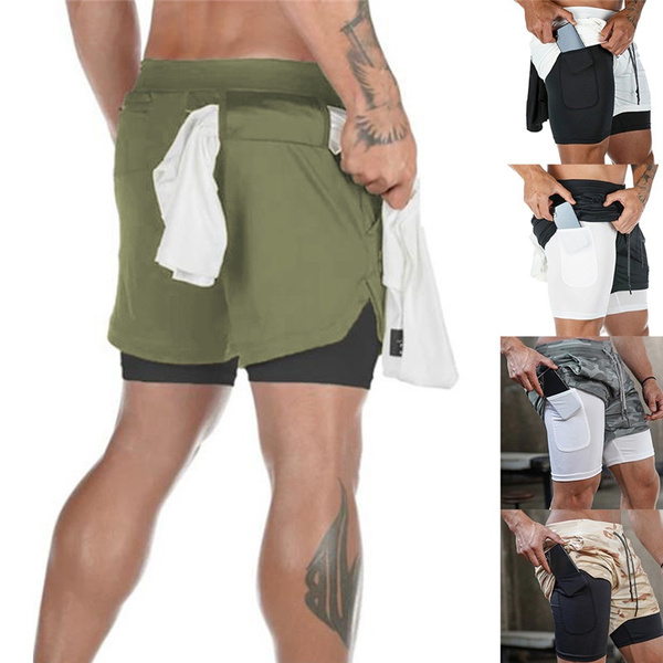 2020 Camo Running Shorts Men 2 In 1 Double Deck Quick Dry Gym Sport Shorts Fitness Jogging Workout Shorts Men Sports Short Pants Wish