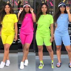 Fashion, twopiecesuite, Simple, crewneckshirt