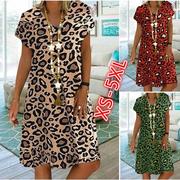 Summer, Plus Size, leopard print, Dress