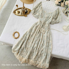 short sleeve dress, ruffle, Lace, long dress