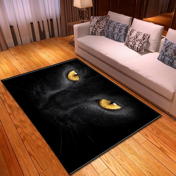 Fashion, bedroomcarpet, blackcatprint, rugsforlivingroom