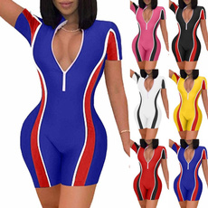 bodycon jumpsuits, sleeve v-neck, Slim Fit, Sleeve