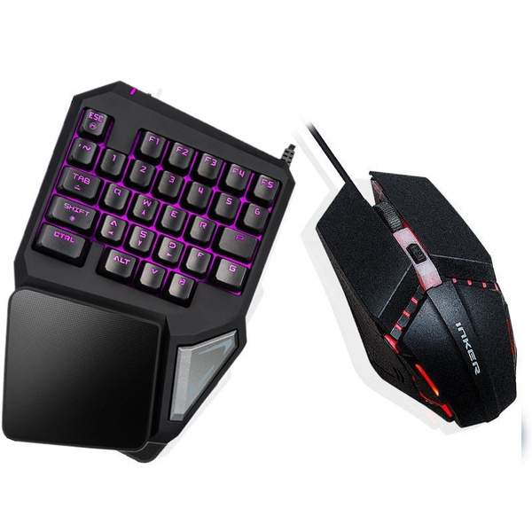 One Handed Mechanical Gaming Keyboard Mouse Set Rgb Backlit Portable Mini Gaming Keypad For Pc Ps4 Xbox Gamer Wish