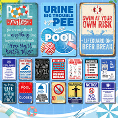 poolrule, Decor, warningsign, metalpainting