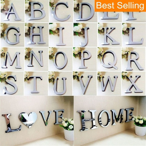 Decor, art, alphabetsticker, mirrorsurface